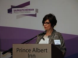 Carolyn Carleton speaking at the Saskatchewan Polytechnic Business and Industry Dinner